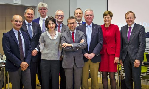EIROforum Directors meet the European Commission in Brussels. From left to right: ESRF DG, Francesco Sette, DG Research and Innovation, EC, Robert-Jan Smits, ILL Director, Helmut Schober, CERN DG, Fabiola Gianotti, Chair of the European XFEL Management Board, Robert Feidenhans'l, Commissioner for Research and Innovation, Carlos Moedas, EUROfusion Programme Manager, Tony Donné, ESO DG and EIROforum Chair, Tim de Zeeuw, EMBL Director International Relations, Silke Schumacher and ESA DG, Jan Woerner. (Credit: Mark McCaughrean)