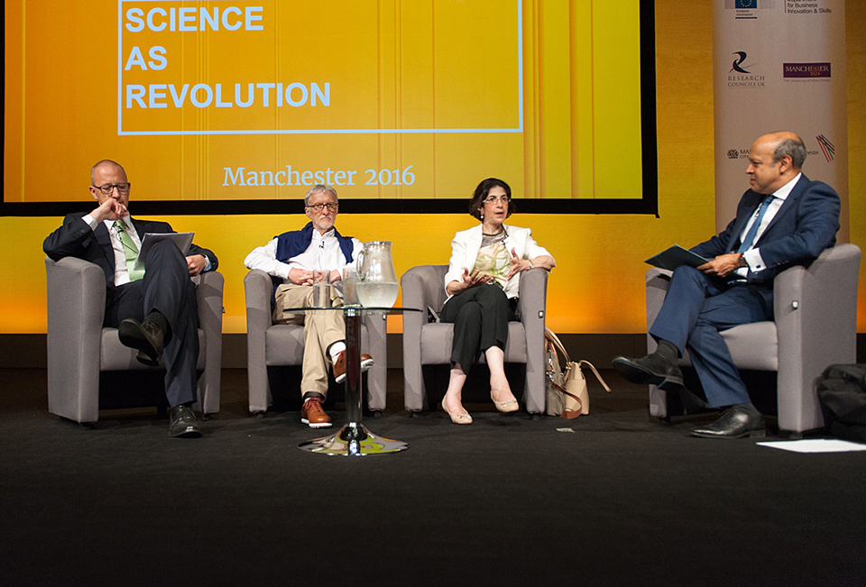 The panel of 'EIROforum - serving European science' in the Exchange Auditorium at the EuroScience Open Forum at Manchester Central, in Manchester, United Kingdom on Tuesday, 26 July 2016