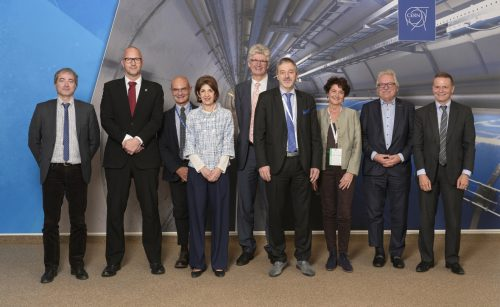 The Chair of EIROforum, Dr Fabiola Gianotti (fourth from left), with members of the EIROforum Council and other participants in the Directors General Assembly. Credit: CERN