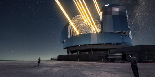 Artist's rendering of ESO's future Extremely Large Telescope (ELT) in operation
