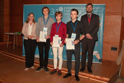 The three winners of the CERN Special Prize, together with Charlotte Warakaulle, Director for International Relations at CERN and Dr Attila Borics of the Hungarian Academy of Sciences, who was President of the Jury.