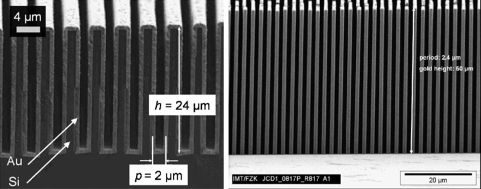 Deep microstructured transmission gratings used as optical elements in X-ray grating interferometers.