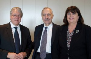Claus Madsen, Chairman of the EIROforum Coordination Group, Carlo Rizzuto, Chairman of ERF and Máire Geoghegan-Qiunn, European Commissioner for Research and Innovation